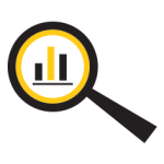 image of an magnifying class with statistics data in it for Plus Digital Consulting
